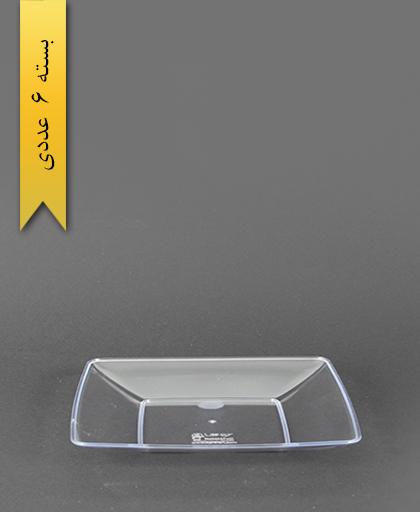 بشقاب کیک خوری چهارگوش لوکس شفاف - کوشا