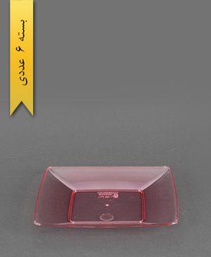 بشقاب کیک خوری چهارگوش قرمز - کوشا