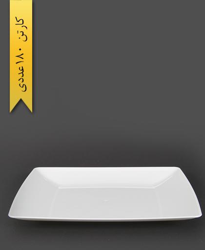 بشقاب غذاخوری چهارگوش سفید لوکس -کوشا