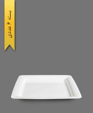 بشقاب دیپلمات سفید - ظروف یکبار مصرف طب پلاستیک