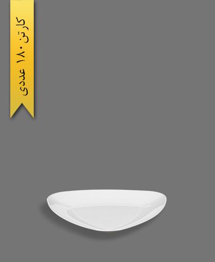 بشقاب غذا خوری سه گوش لونا سفید - ظروف یکبار مصرف کوشا