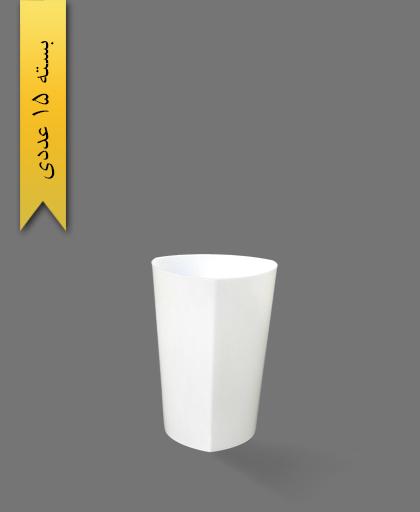 لیوان 220cc لونا سفید سه گوش - ظروف یکبار مصرف کوش