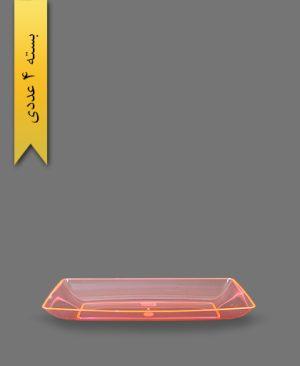 دیس چهارگوش نارنجی لوکس بزرگ - ظروف یکبار مصرف کوشا
