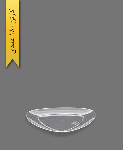 بشقاب غذا خوری سه گوش لونا شفاف - ظروف یکبار مصرف کوشا