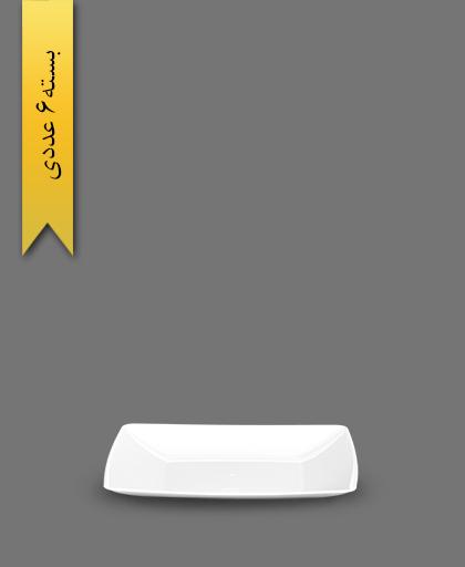 بشقاب کیک خوری 4گوش سفید - ظروف یکبار مصرف کوشا