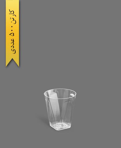 لیوان چهار گوش لوکس 100 شفاف - ظروف یکبار مصرف کوشا
