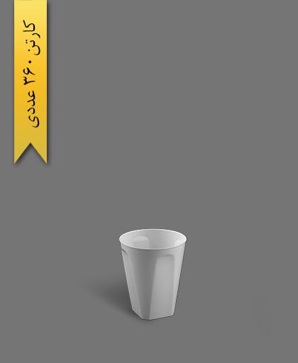 لیوان چهار گوش لوکس 210cc سفید - ظروف یکبار مصرف کوشا