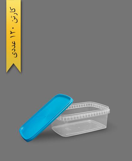 ظرف مایکروویو M1200 با درب آبی - ظروف یکبار مصرف طب پلاستیک