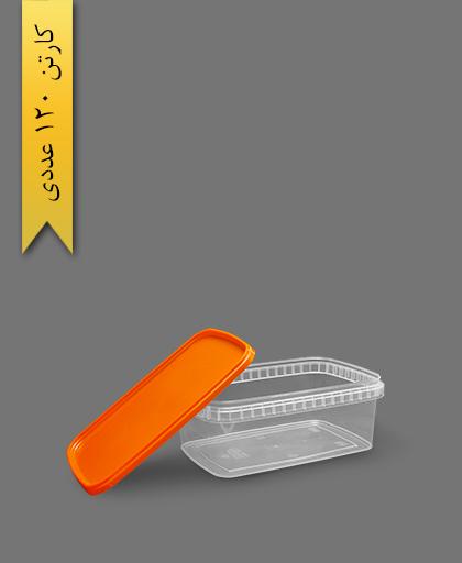 ظرف مایکروویو M1200 با درب نارنجی - ظروف یکبار مصرف طب پلاستیک