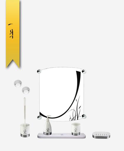 سرويس دستشویی کد 373 مدل پاينا با آينه طرح دار - سنی پلاستیک