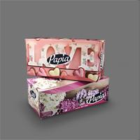 دستمال جعبهای 150 برگ دولا – پاپیا (کارتن 48 جعبهای)