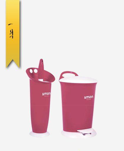 سطل پدالی و فرچه کد 858 - لیمون