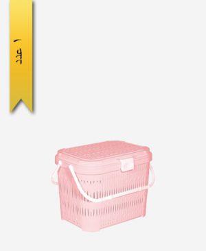 سبد پیک نیک کوتاه درب دار طرح بامبو کد 1550 - لیمون
