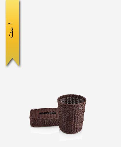 ست سطل و جا دستمال بافت کد 51037 - زیبا سازان