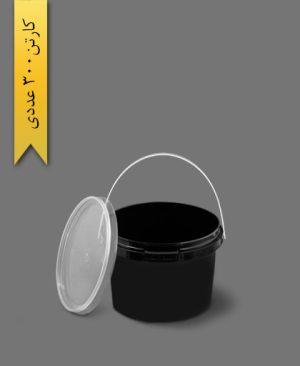 سطل B310 مشکی با درب - ظروف یکبار مصرف طب پلاستیک