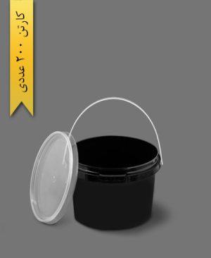 سطل B610 با درب مشکی - ظروف یکبار مصرف طب پلاستیک