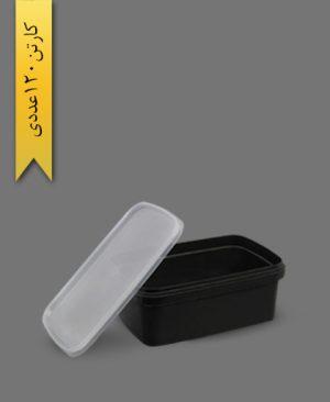 ظرف ماکرویو M1200 مشکی با درب - ظروف یکبار مصرف طب پلاستیک